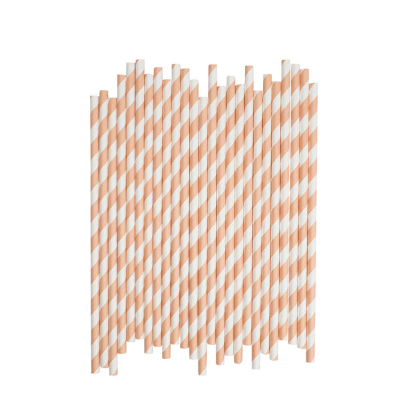 Orange Sailor Striped Paper Straws