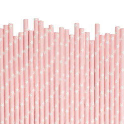 Light Pink With White Stars Paper Straws  Paper Straws Hello Party Essentials - Hello Party