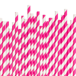 Hot Pink Diagonal Striped Paper Straws  Paper Straws Hello Party Essentials - Hello Party