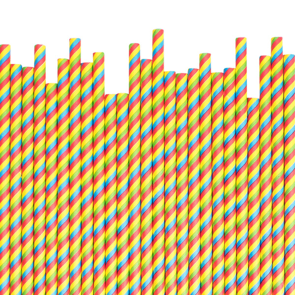 Rainbow Striped Paper Straws  Paper Straws Hello Party Essentials - Hello Party