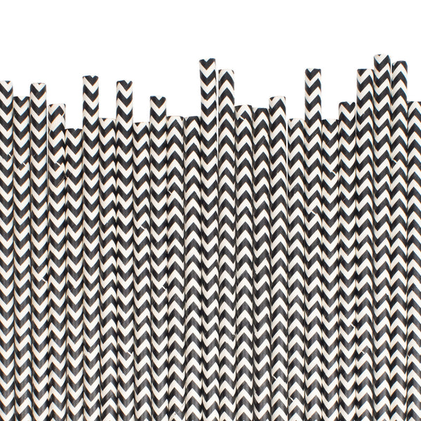 Black Chevron Paper Straws  Paper Straws Hello Party Essentials - Hello Party