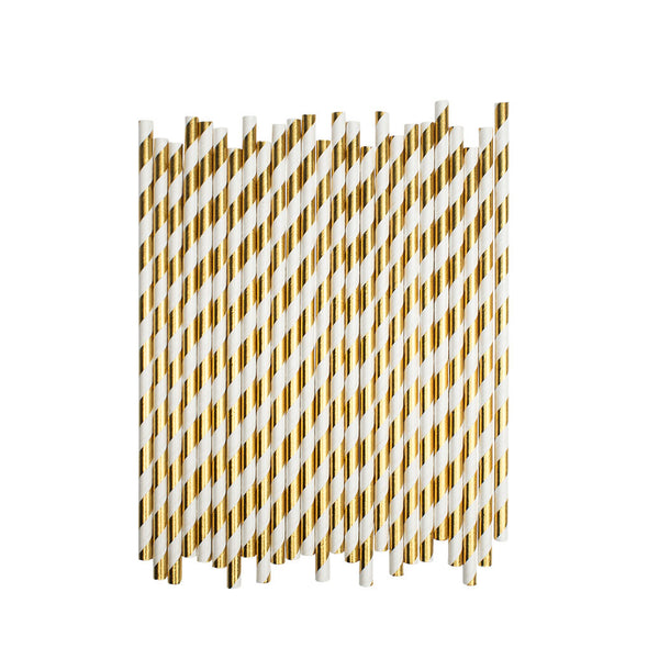 Gold Diagonal Striped Paper Straws  Paper Straws Hello Party Essentials - Hello Party