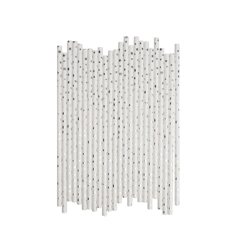Little Silver Stars Paper Straws  Paper Straws Hello Party Essentials - Hello Party