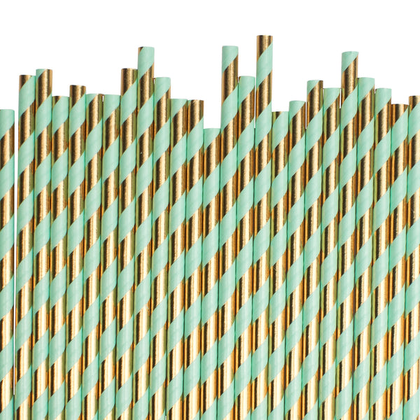 Mint And Gold Diagonal Striped Paper Straws