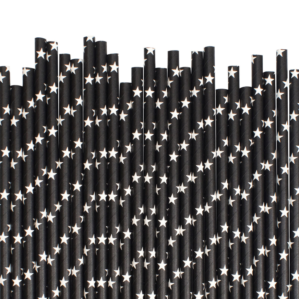 Black With White Stars Paper Straws