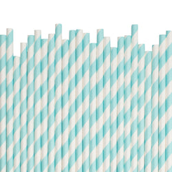 Light Blue Diagonal Striped Paper Straws  Paper Straws Hello Party Essentials - Hello Party