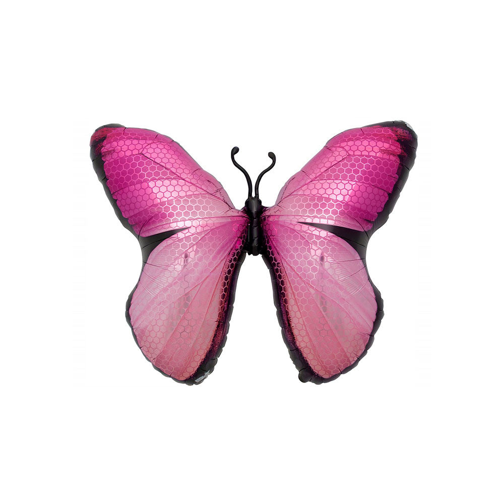 "Pink Butterfly 31"" Supershape Foil Balloon"