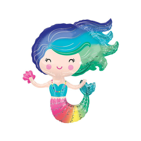 Colourful Mermaid Foil Balloon  Supershape Balloons Anagram - Hello Party