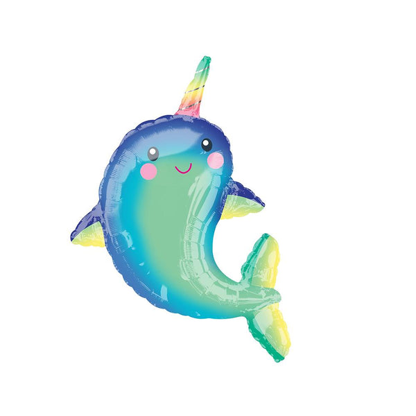 Happy Narwhal Foil Balloon  Supershape Balloons Anagram - Hello Party
