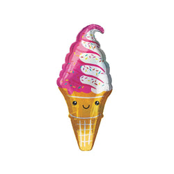 Happy Sparkly Ice Cream Cone Foil Balloon  Supershape Balloons Anagram - Hello Party