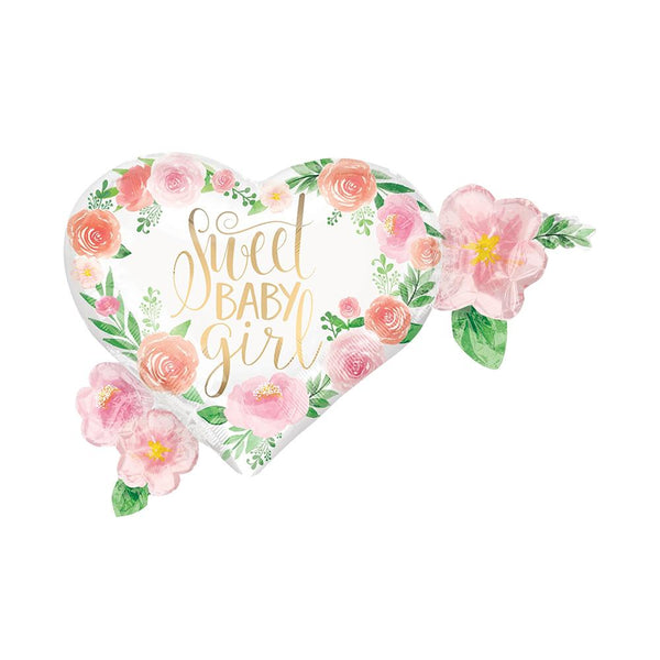 Sweet Baby Girl Floral Heart Foil Balloon  Supershape Balloons Anagram - Hello Party