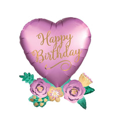 Happy Birthday Satin Luxe Heart Foil Balloon  Supershape Balloons Anagram - Hello Party