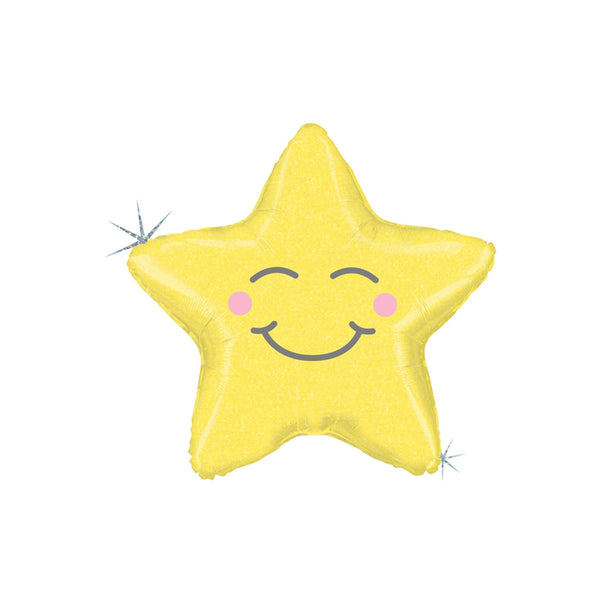 Smiling Yellow Star Foil Party Baby Shower Balloon