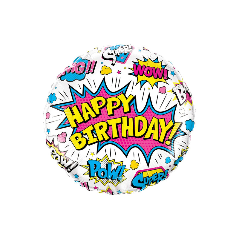 Birthday Superhero Round Foil Balloon  Standard Foil Balloons qualatex - Hello Party