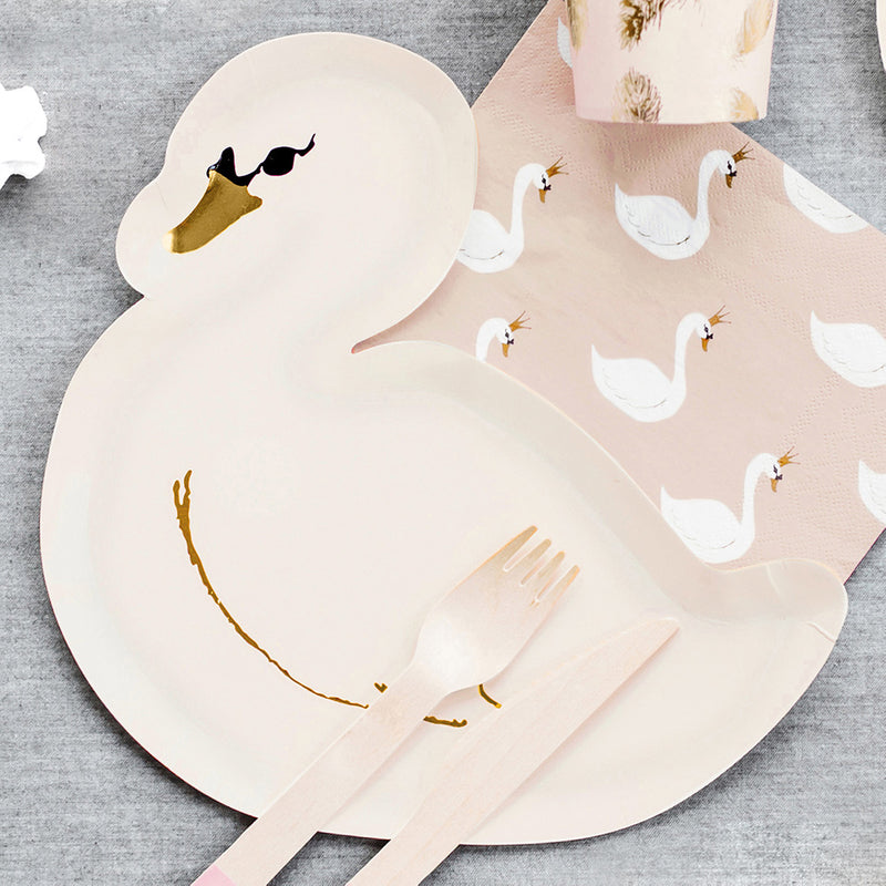Graceful Swan Shaped Paper Plates  Party Plates Party Deco - Hello Party