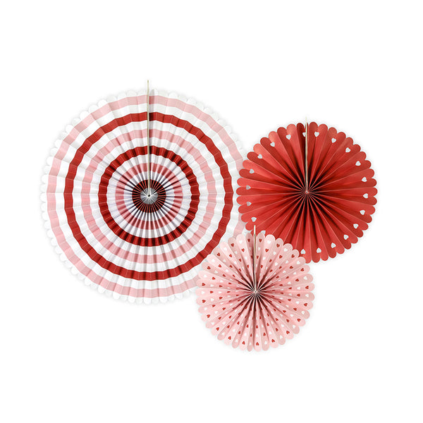 Sweet Love Red & White Paper Fan Set  Paper Fans Party Deco - Hello Party
