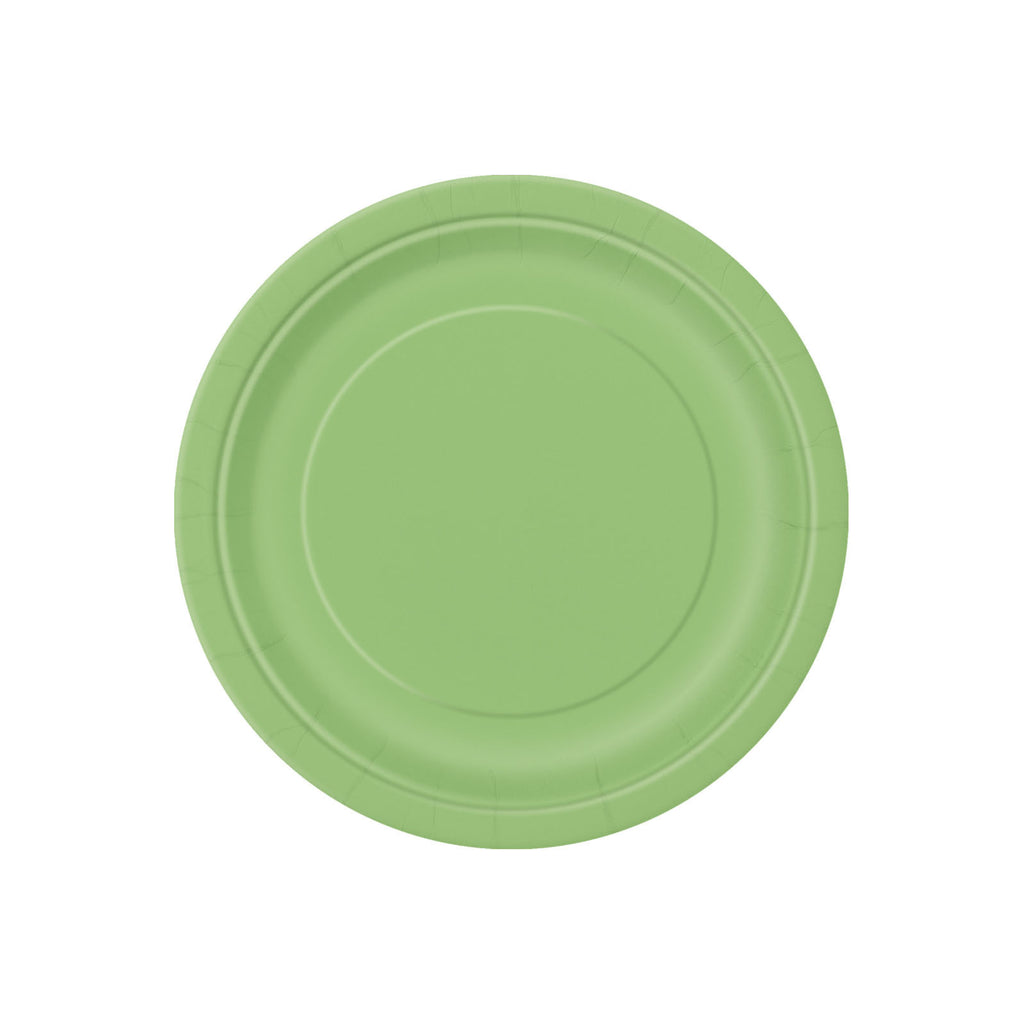 Small Lime Green Round Paper Plates