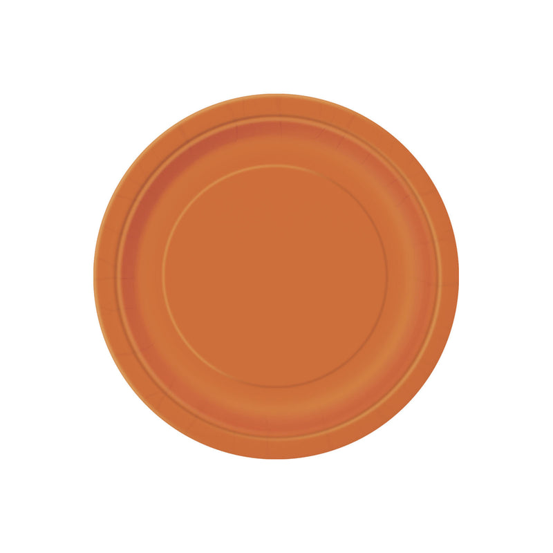 Small Orange Round Paper Plates  Party Plates Hello Party - All you need to make your party perfect!  - Hello Party