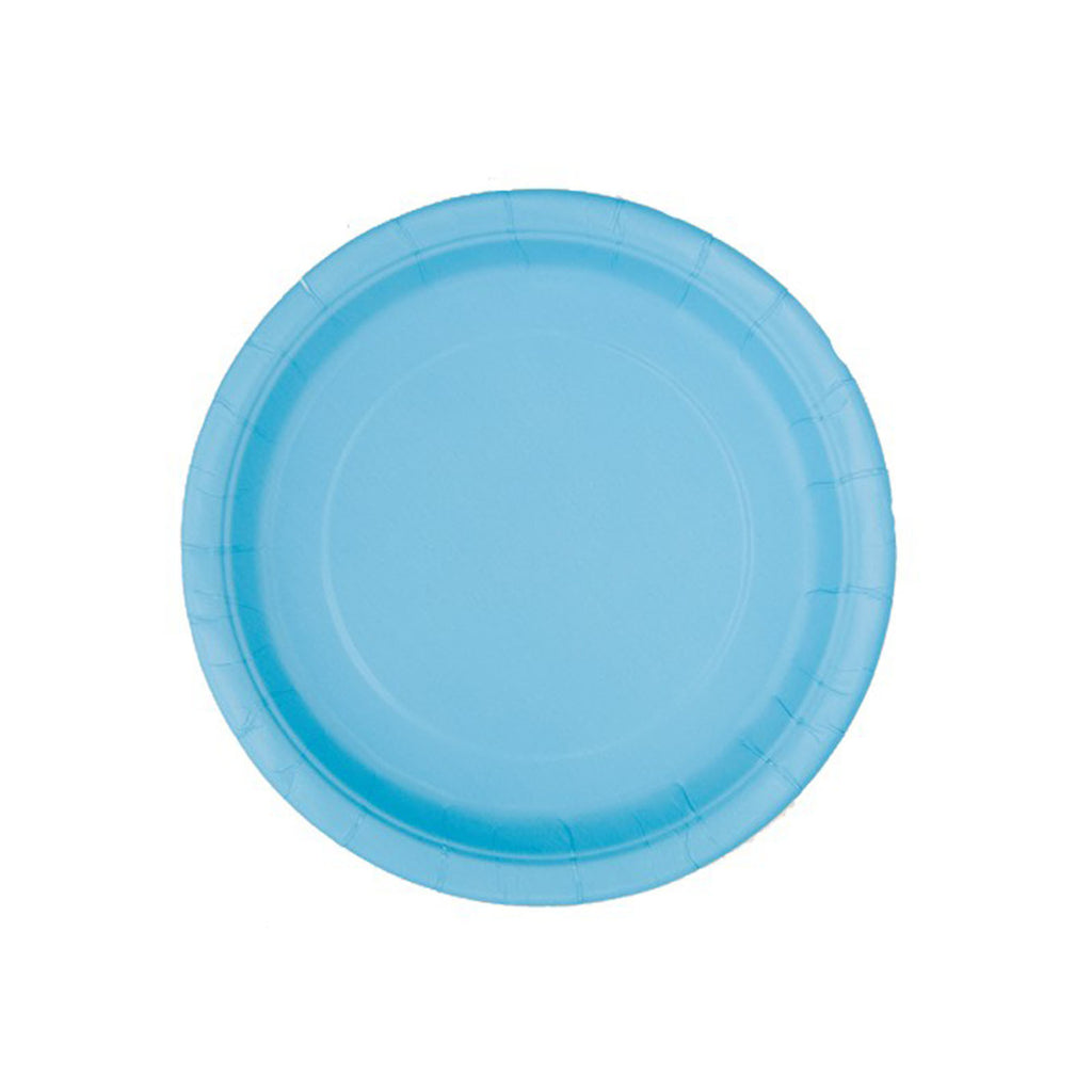 Small Pastel Blue Round Paper Plates