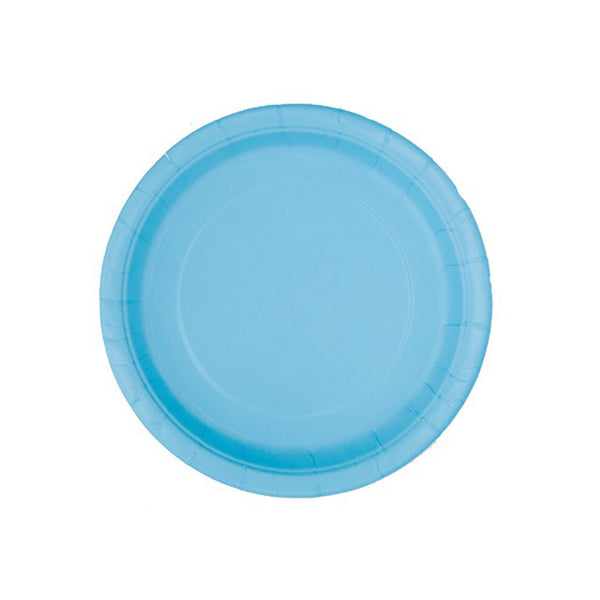 Small Pastel Blue Round Paper Plates  Party Plates Hello Party - All you need to make your party perfect!  - Hello Party