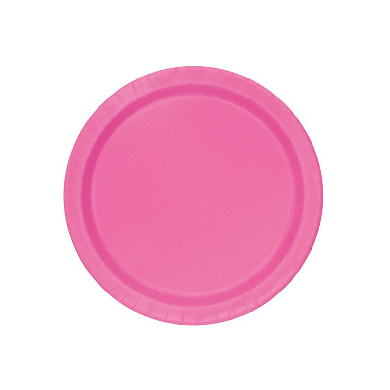 Small Hot Pink Round Paper Plates  Party Plates Hello Party - All you need to make your party perfect!  - Hello Party