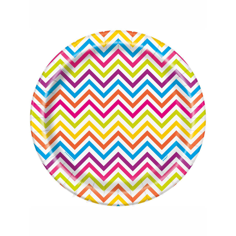 Rainbow Chevron Paper Plates  Party Plates Hello Party - All you need to make your party perfect!  - Hello Party