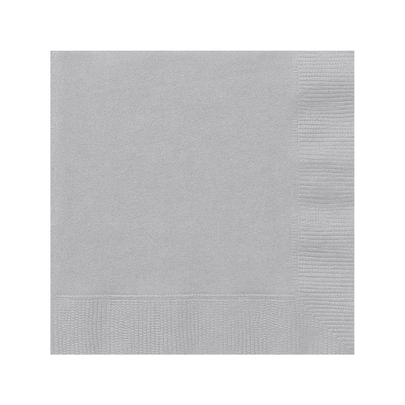 Solid Silver Napkins  Napkins Hello Party - All you need to make your party perfect!  - Hello Party