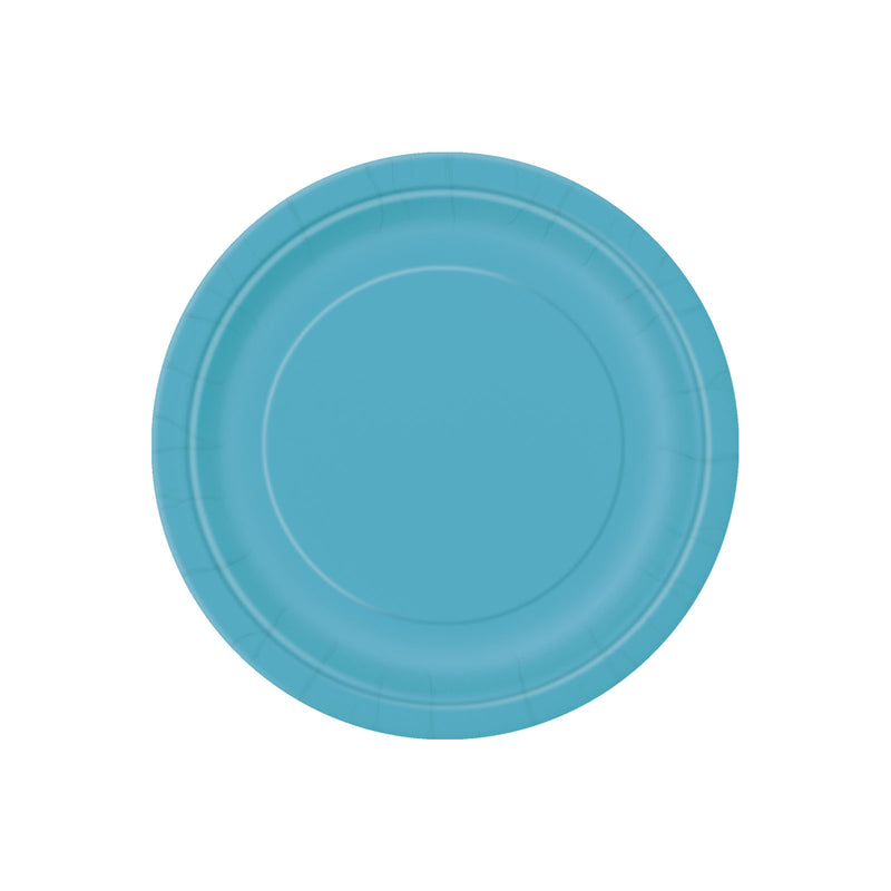 Small Teal Round Paper Plates