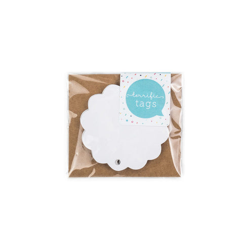 10 Terrific Round Scalloped Edged Tags White