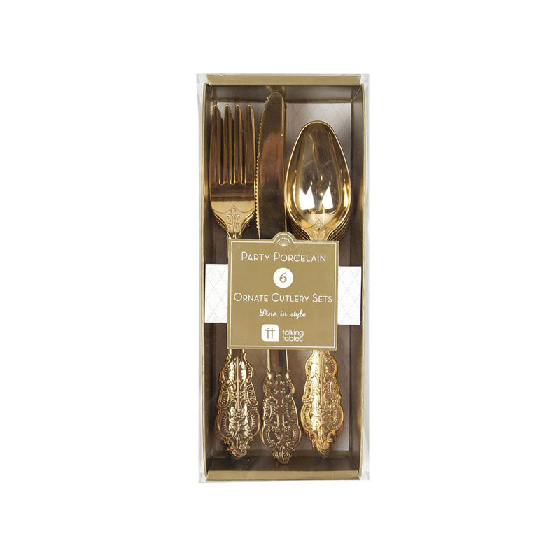 Party Porcelain Gold Cutlery  Party Cutlery Talking Tables - Hello Party