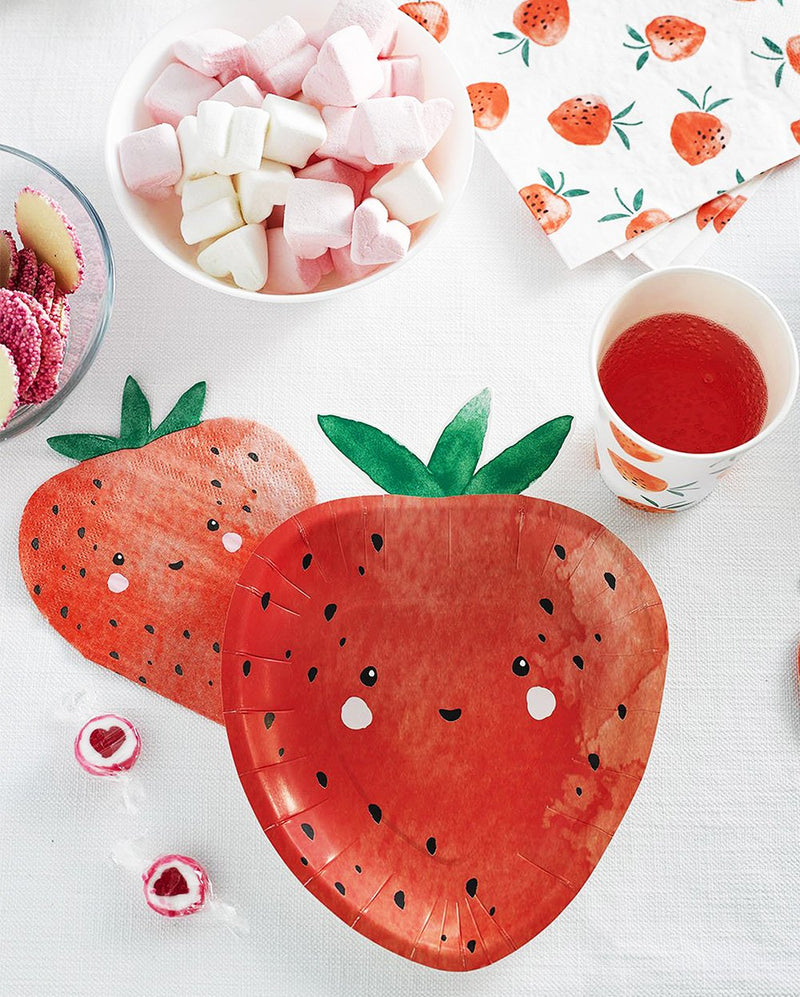 Sweet Strawberry Shaped Plates Talking Tables - Hello Party