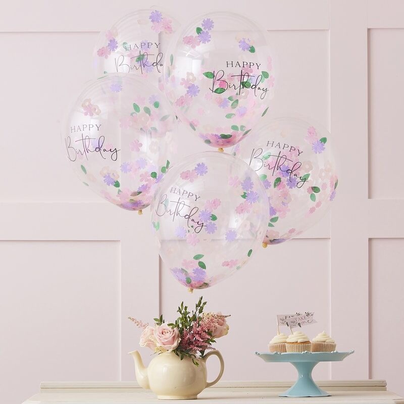 Floral Confetti Happy Birthday Balloon