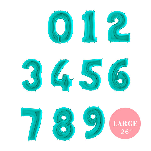 "Large Tiffany Blue Number Foil Balloons (26"")  Balloons Grabo Balloons - Hello Party"