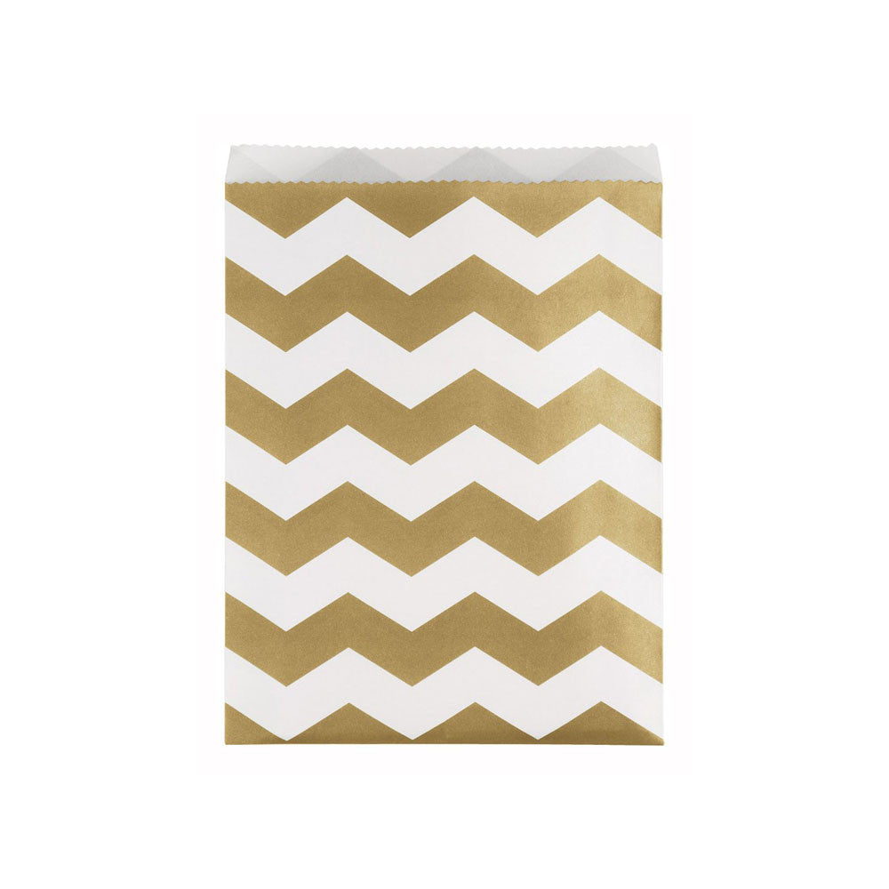 Large Gold Chevron Paper Treat Bags 10