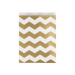 Large Gold Chevron Paper Treat Bags  Party Bags HelloPartyUK - Hello Party