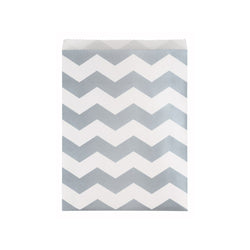 Large Silver Chevron Paper Treat Bags 10