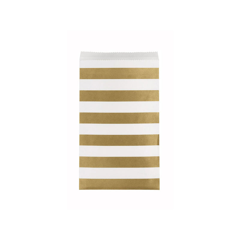 Medium Gold Striped Paper Treat Bags 15