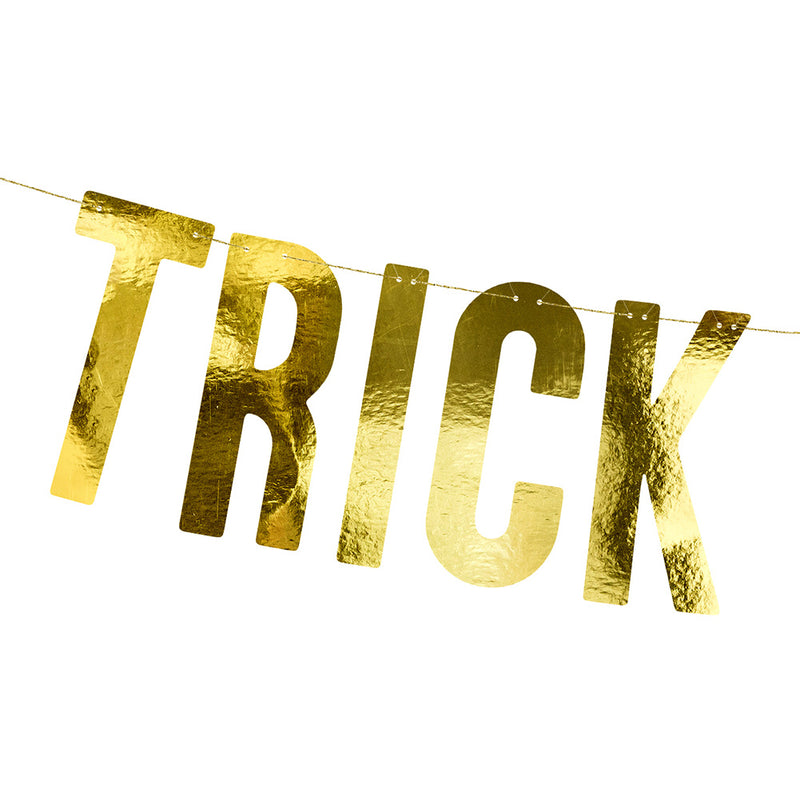 Trick or Treat Metallic Gold Letter Banner  Garland Party Deco - Hello Party