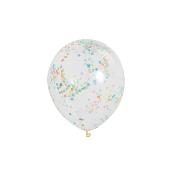 Rainbow Confetti Balloons (pack of 6)  Confetti Balloons Hello Party Essentials - Hello Party