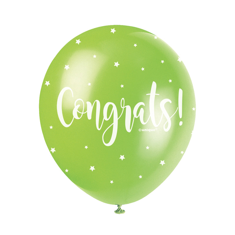 Congrats! Assorted Pearl Balloons (pack of 5)  Printed Latex Balloons Unique - Hello Party