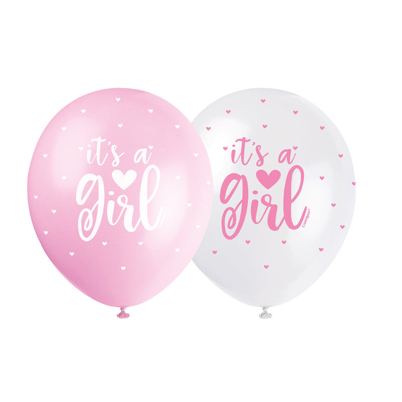 It's a Girl Pearl Pink Balloons (pack of 5)  Printed Latex Balloons Unique - Hello Party