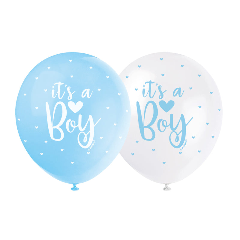 It's a Boy Pearl Blue Balloons (pack of 5)  Printed Latex Balloons Unique - Hello Party