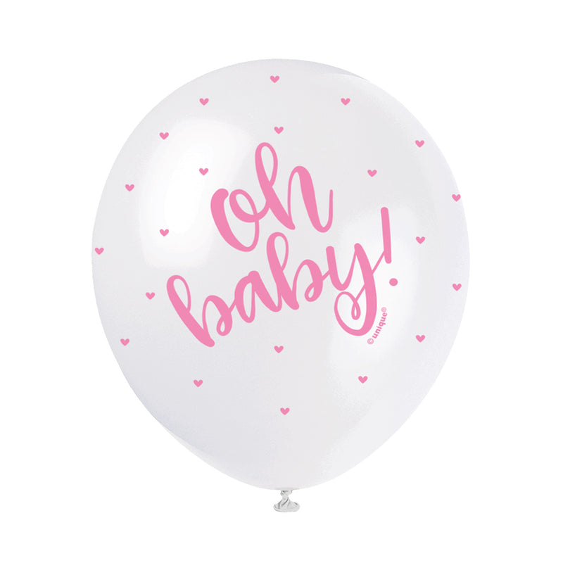 Oh Baby Pearl Pink Balloons (pack of 5)  Printed Latex Balloons Unique - Hello Party
