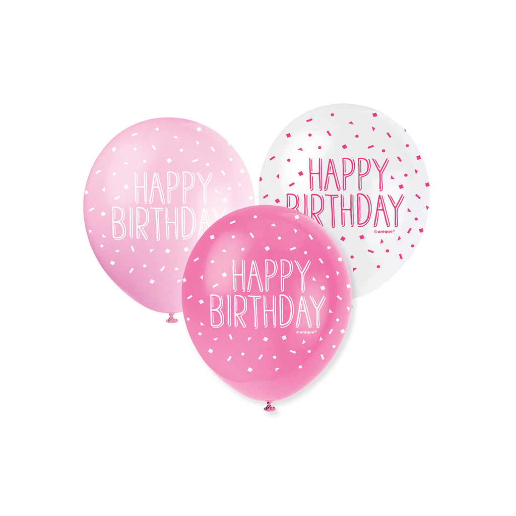 Happy Birthday Assorted Pearl Pink Balloons Pack Of 5