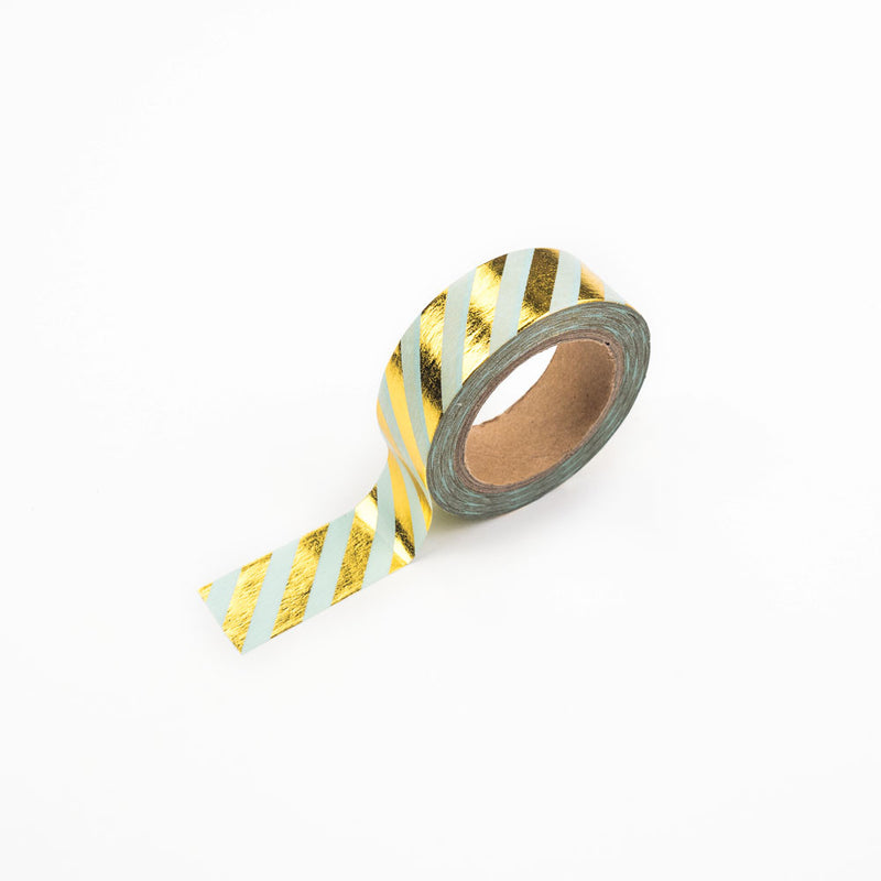 Mint and Gold Diagonal Striped Washi Tape  Washi Tape Hello Party Essentials - Hello Party