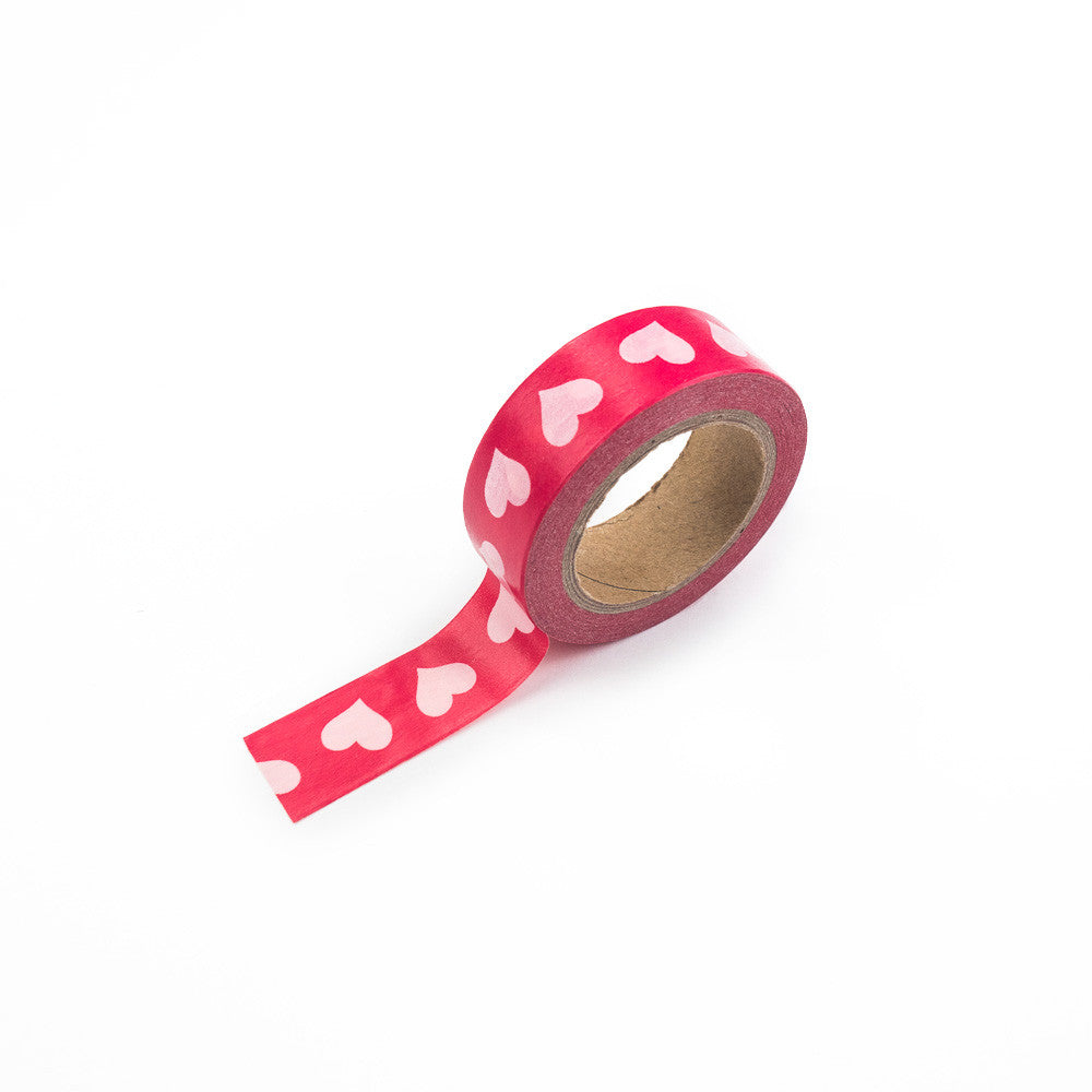 Dark Pink with Light Pink Hearts Washi Tape