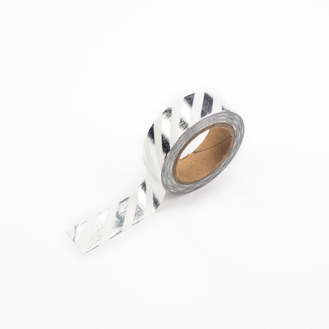 Silver diagonal striped Washi Tape