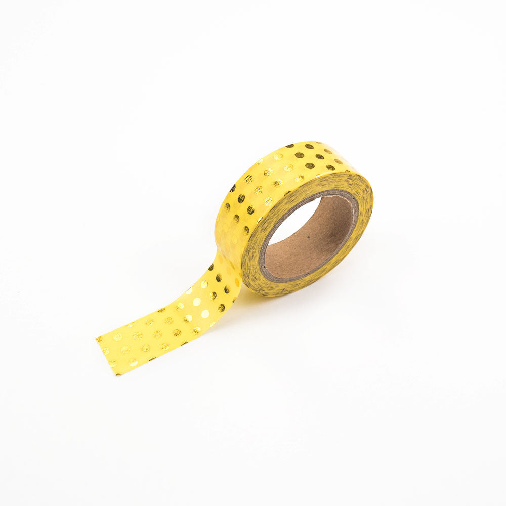 Yellow with Gold Spots Washi Tape