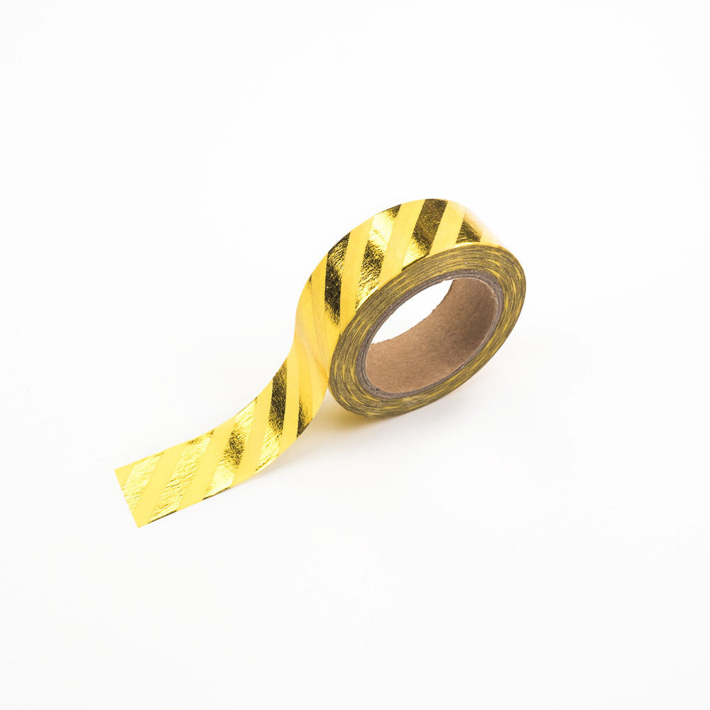 Yellow and Gold Diagonal Striped Washi Tape