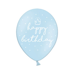 Blue Happy Birthday Printed Balloon (pack of 3)  Printed Latex Balloons Hello Party Essentials - Hello Party